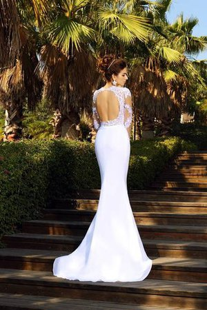 Appliques Natural Waist Lace-up Sheath Scoop Wedding Dress - 2