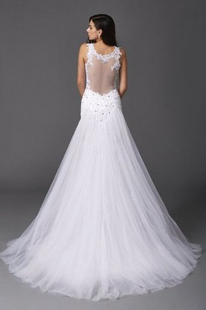 Wide Straps Long Sweep Train Natural Waist Wedding Dress - 2
