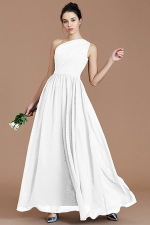 Floor Length Natural Waist Chiffon Ruched One Shoulder Bridesmaid Dress - 32