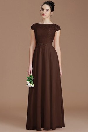 Floor Length Lace Chiffon Natural Waist Zipper Up Bridesmaid Dress - 12