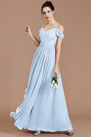 Chiffon Floor Length A-Line Ruched Bridesmaid Dress - 24