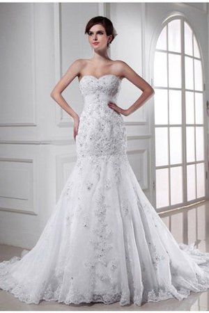 Organza Empire Waist Appliques Sweetheart Mermaid Wedding Dress - 1