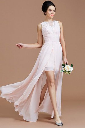 Ruched Zipper Up Natural Waist Jewel Sleeveless Bridesmaid Dress - 2