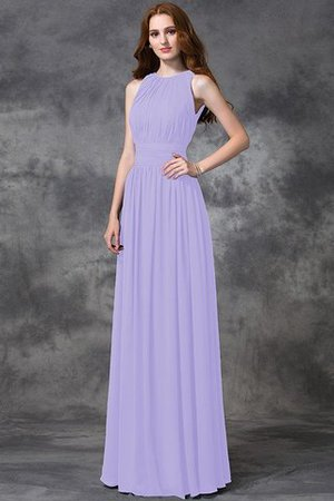 Sleeveless Ruched Natural Waist Chiffon Long Bridesmaid Dress - 19