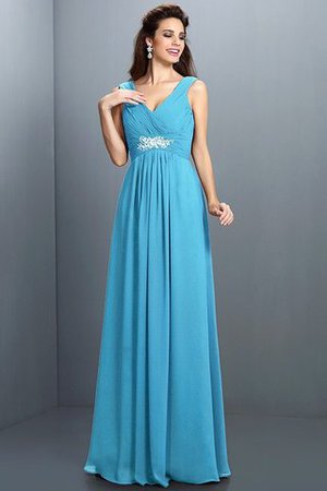 A-Line Chiffon Long Sleeveless Bridesmaid Dress - 3