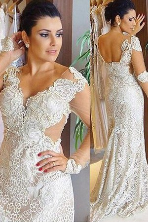 Sweep Train Long Sleeves V-Neck Natural Waist Lace Wedding Dress - 1
