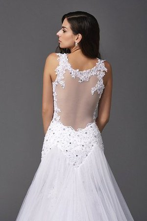 Wide Straps Long Sweep Train Natural Waist Wedding Dress - 6