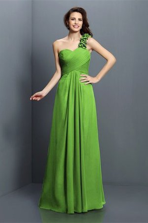 Zipper Up One Shoulder Chiffon A-Line Bridesmaid Dress - 14