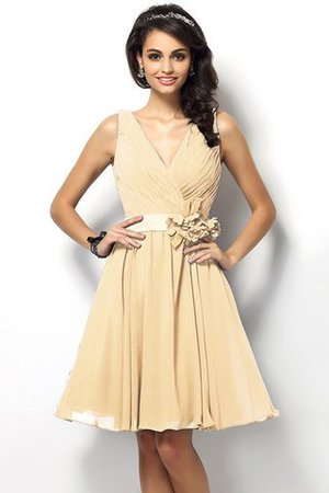 Draped A-Line V-Neck Natural Waist Bridesmaid Dress - 6
