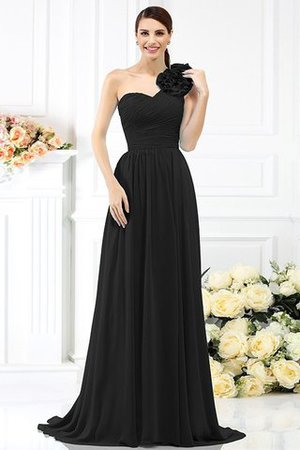 Chiffon A-Line One Shoulder Long Flowers Bridesmaid Dress - 2