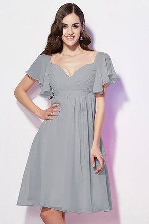 Ruffles Knee Length Short Sleeves Sweetheart Bridesmaid Dress - 26