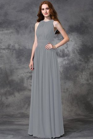 Sleeveless Ruched Natural Waist Chiffon Long Bridesmaid Dress - 27