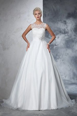 Empire Waist Ball Gown Long Sleeveless Lace Wedding Dress - 4