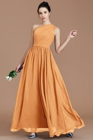 Floor Length Natural Waist Chiffon Ruched One Shoulder Bridesmaid Dress - 24