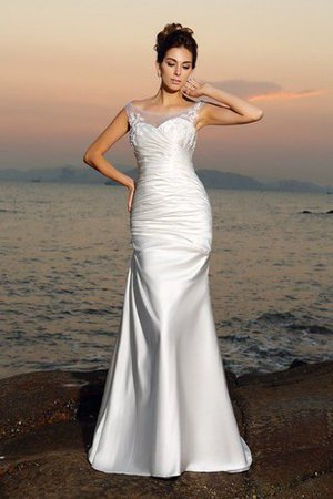 Scoop Empire Waist Beading Satin Long Wedding Dress - 1