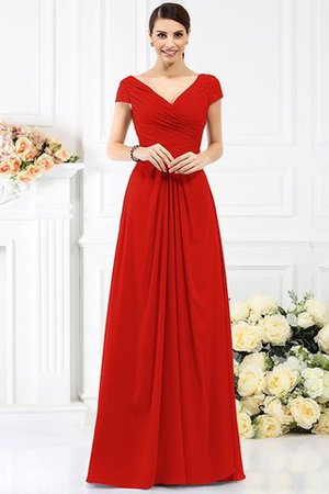 Long Empire Waist Pleated A-Line Short Sleeves Bridesmaid Dress - 23