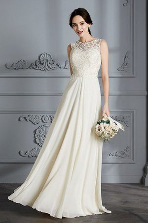 Floor Length Sleeveless Natural Waist Chiffon A-Line Wedding Dress - 3