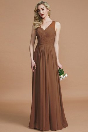 Natural Waist Floor Length A-Line V-Neck Bridesmaid Dress - 9