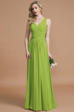 Natural Waist Floor Length A-Line V-Neck Bridesmaid Dress - 19