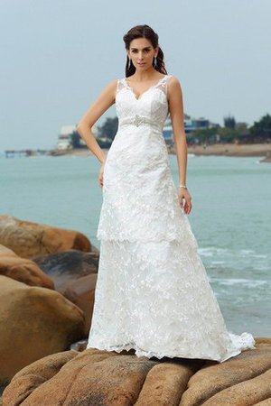 Princess Wide Straps Sleeveless Satin Empire Waist Wedding Dress - 1