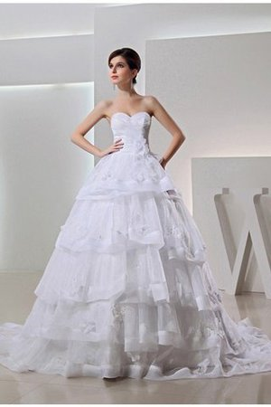 Organza Long Empire Waist Sleeveless Chapel Train Wedding Dress - 1