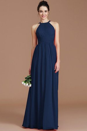 Ruched Floor Length Chiffon Natural Waist Halter Bridesmaid Dress - 17