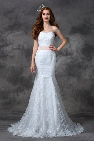 Backless Mermaid Lace Court Train Wedding Dress - 1