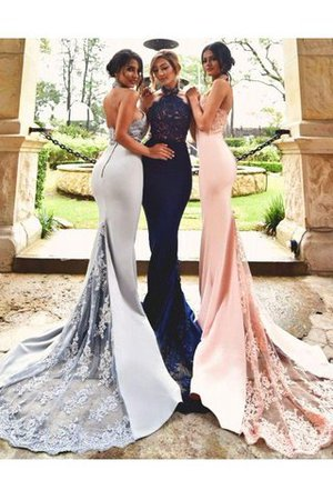 Halter Sleeveless Sweep Train Mermaid Lace Bridesmaid Dress - 1