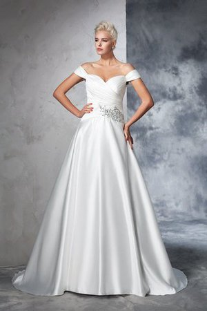 Long Taffeta Ball Gown Natural Waist Ruched Wedding Dress - 1