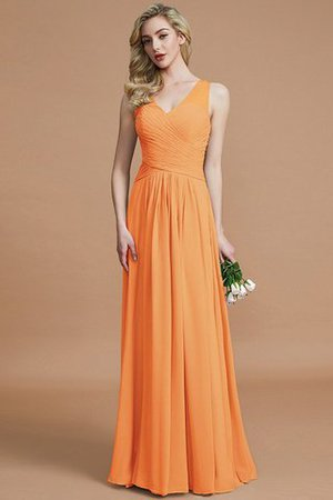 Natural Waist Floor Length A-Line V-Neck Bridesmaid Dress - 25