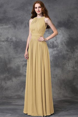 Sleeveless Ruched Natural Waist Chiffon Long Bridesmaid Dress - 6