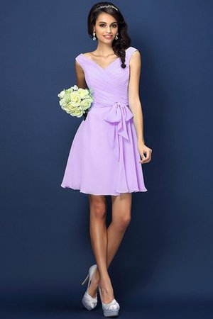 Zipper Up A-Line V-Neck Short Bridesmaid Dress - 19