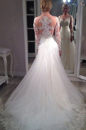 Tulle Long Sleeves V-Neck A-Line Sequins Wedding Dress - 2