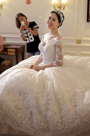 3/4 Length Sleeves Church Demure Cathedral Train Zipper Up Exclusive Wedding Dress - 2