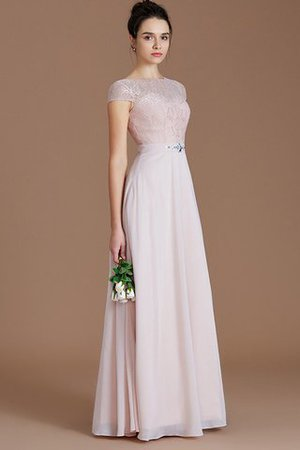 Floor Length Lace Chiffon Natural Waist Zipper Up Bridesmaid Dress - 4
