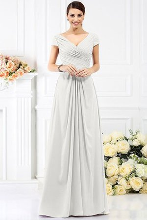 Long Empire Waist Pleated A-Line Short Sleeves Bridesmaid Dress - 16