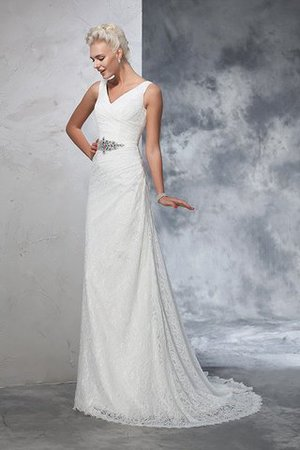 Sleeveless Mermaid V-Neck Lace Natural Waist Wedding Dress - 5