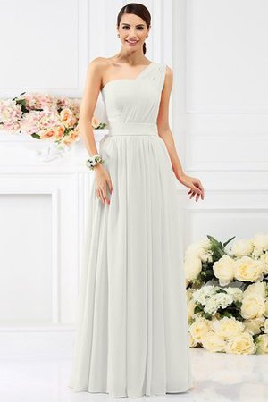 Pleated Long A-Line One Shoulder Bridesmaid Dress - 16