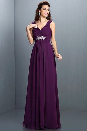 A-Line Chiffon Long Sleeveless Bridesmaid Dress - 12