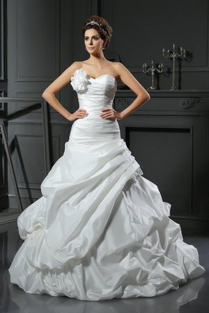 Sleeveless Flowers Long Ball Gown Lace-up Wedding Dress - 1