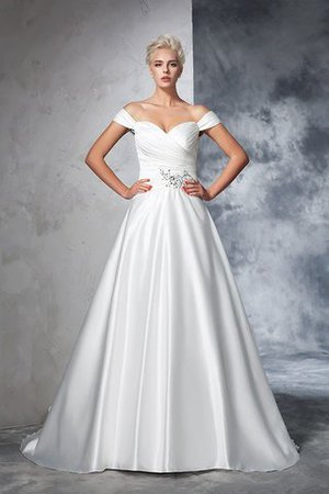 Long Taffeta Ball Gown Natural Waist Ruched Wedding Dress - 3