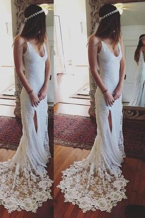 Sheath Lace Spaghetti Straps Court Train Natural Waist Wedding Dress - 1
