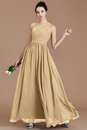 Floor Length Natural Waist Chiffon Ruched One Shoulder Bridesmaid Dress - 16