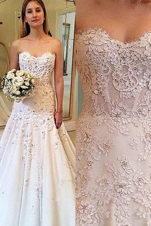 Court Train Lace Natural Waist Sleeveless A-Line Wedding Dress - 1