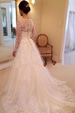 Tulle Natural Waist Long Sleeves V-Neck Lace Wedding Dress - 2