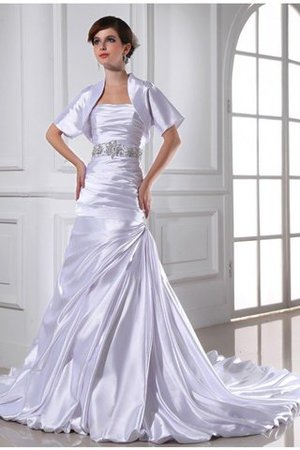 Sleeveless Empire Waist Mermaid Elastic Woven Satin Strapless Wedding Dress - 1