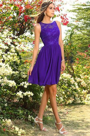 A-Line Natural Waist Sleeveless Chiffon Short Bridesmaid Dress - 24