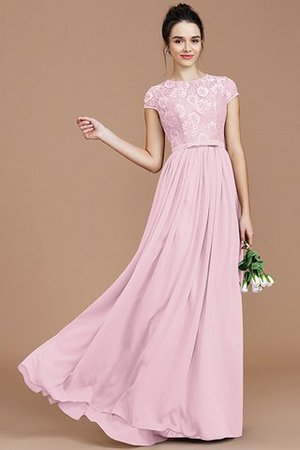 A-Line Jewel Lace Short Sleeves Bridesmaid Dress - 28