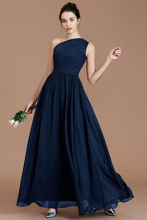 Floor Length Natural Waist Chiffon Ruched One Shoulder Bridesmaid Dress - 14