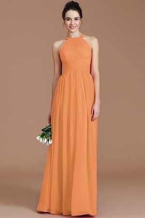 Ruched Floor Length Chiffon Natural Waist Halter Bridesmaid Dress - 24